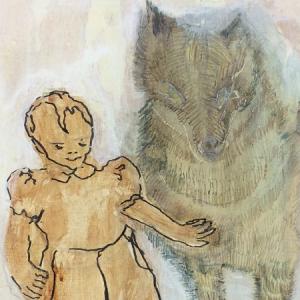 2016,Wolfskind I,Acryl auf Leinwand 30x30 slider Malerin Kaserer