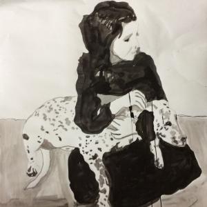 Mimi mit Phoebe,Tusche auf Papier,80x65,2016